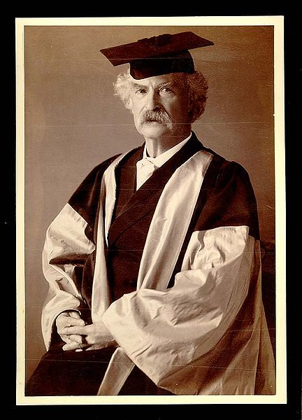 Official portrait of Mark Twain in his DLitt (Doctor of Letters) academic dress, awarded by Oxford University.